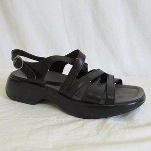 Dansko Black Strappy Sandal Women's 39 8.5